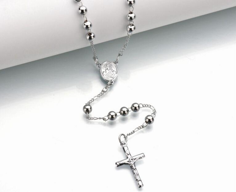 New Fashion Gold Silber Farbe Jesus Kreuz Anhänger Halskette Perlen ...