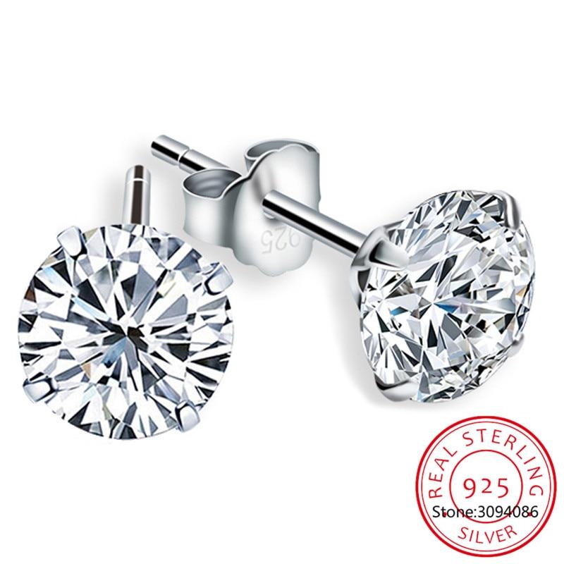 LEKANI Crystal Fashion Genuine 925 Sterling Silver Stud Earrings For Women Wedding Fine Jewelry Gift