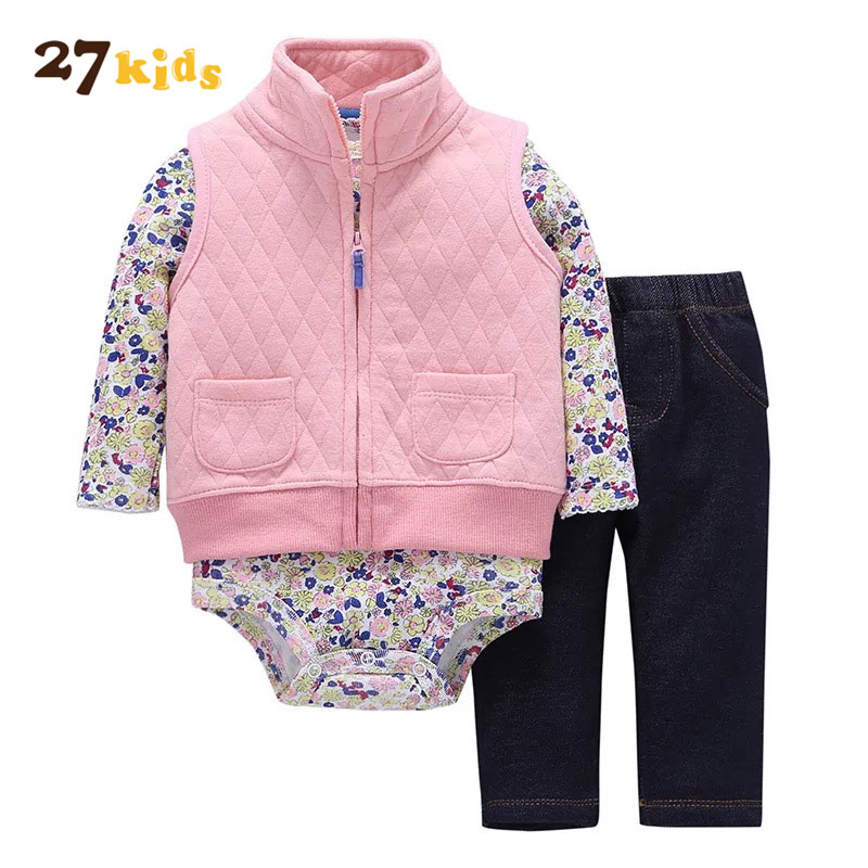 27Kids 3PCS Baby Girl Clothes Set Baby Boys Clothing Outfits Newborn Clothes Suit Long Sleeve Underwear+Coat+Pants Baby's Sets 2017 new boys clothing set camouflage 3 9t boy sports suits kids clothes suit cotton boys tracksuit teenage costume long sleeve