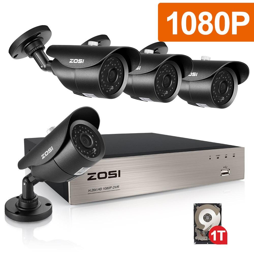 ZOSI 4CH CCTV Системы 1080 P DVR 4 шт. 2.0MP ИК всепогодный Открытый видео наблюдения домашней безопасности Камера Системы 4CH DVR комплект