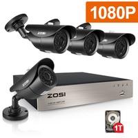 ZOSI 4CH CCTV System 1080p DVR 4PCS 2.0MP IR Weatherproof Outdoor Video Surveillance Home Security Camera System 4CH DVR Kit