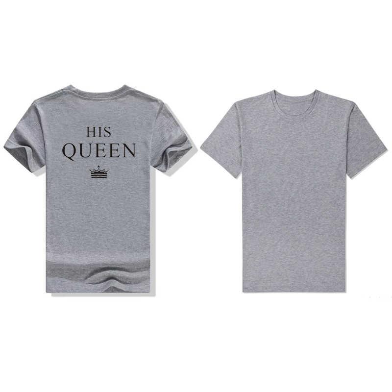 Showtly כותנה מזדמן שחור כותנה טי חולצות המלך שלו מלכת T חולצה זוג מתנת האהבה חברה החבר Wifey חולצה