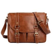 Retro Men's Bag PU Leather Men's Shoulder Bag Casual Simple Wild Briefcase Large Capacity