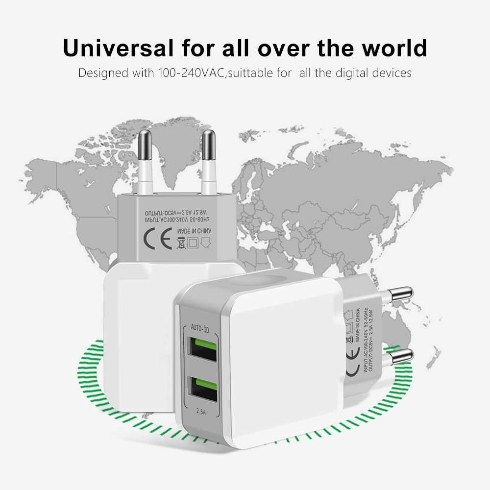 5V 2.5A Universal 2 Port USB Charger Smart Travel Adapter Wall Portable EU Plug Mobile Phone Charger for iPhone x Samsung Xiaomi