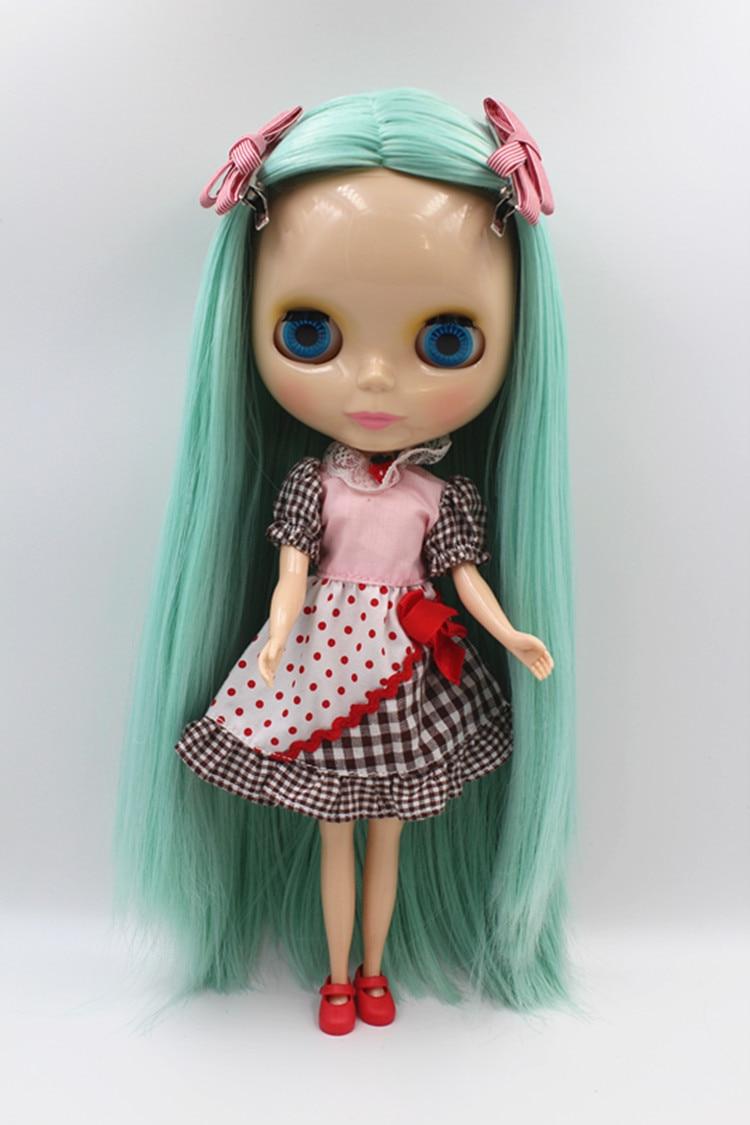 Blygirl doll Light green straight hair Blyth doll general body joints 7 30cm fashion doll Blyth doll 1/6