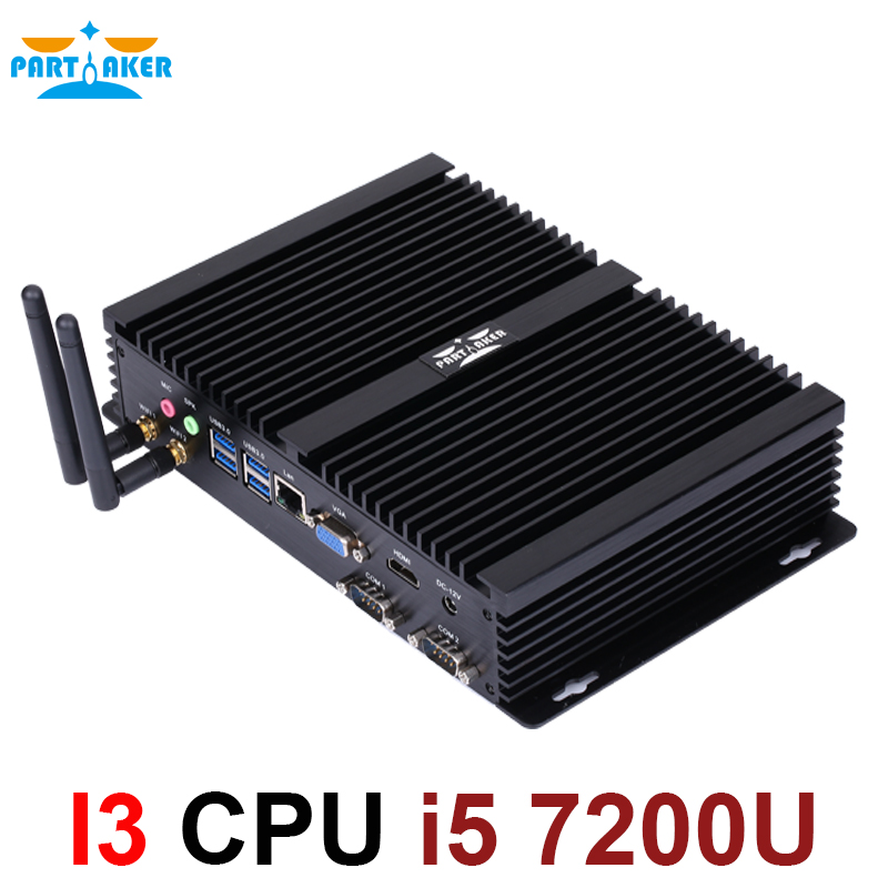 Partaker I3 Mini PC Industrial 2*RS232 With Intel I5 7200U 2 Core 4 Threads HTPC