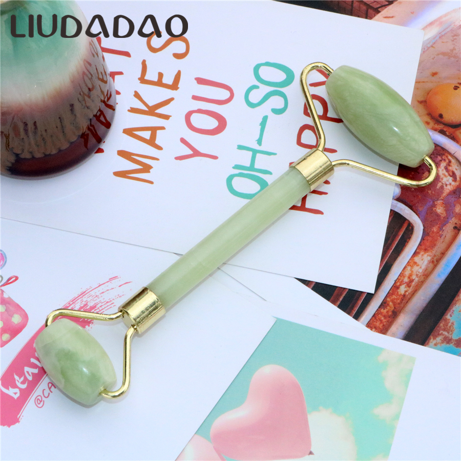 Double Head Natural Jade Facial Massager Beauty Face Body Neck Rollers Facial Li