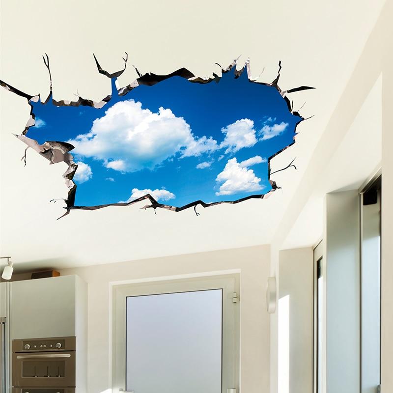 [SHIJUEHEZI] 3D mennyezeti matricák PVC anyag Sky felhők padló matricák gyerekeknek Szoba hálószoba nappali fali dekoráció