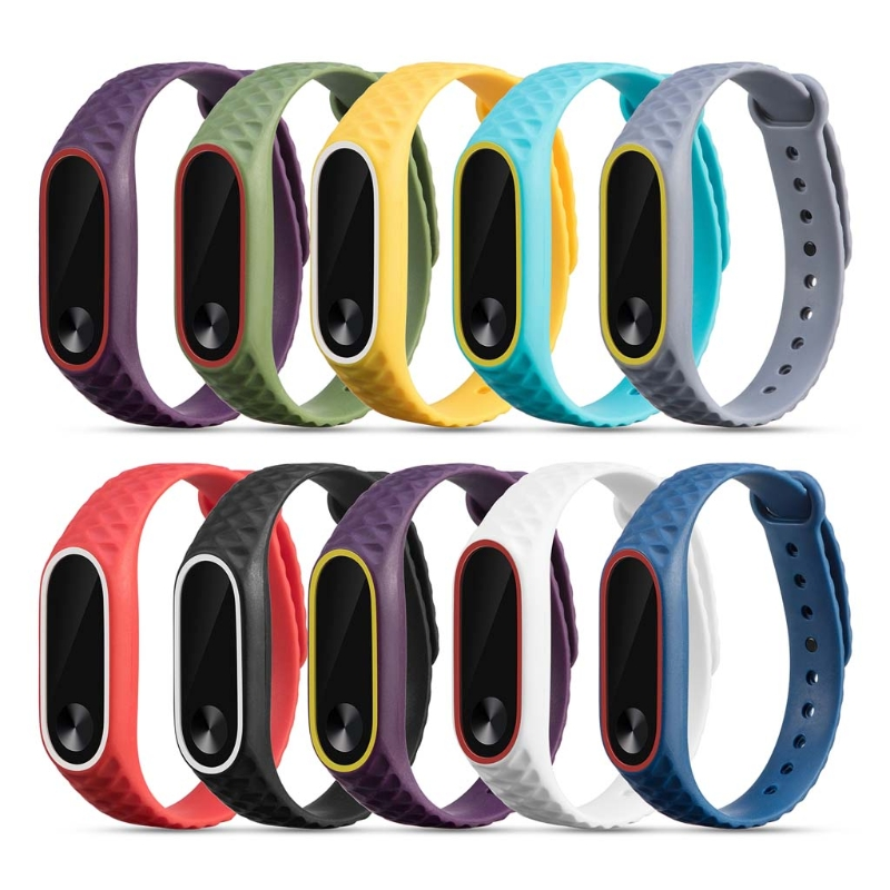 OOTDTY Rhombic Silicon Wrist Strap Bracelet Replacement WristBand For Xiaomi MI Band 2