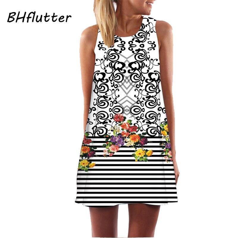 BHflutter Vestidos 2018 New Style Summer Dress Sleeveless Hearts Print Casual Women Dress Above Knee Women Short Beach Dresses 4
