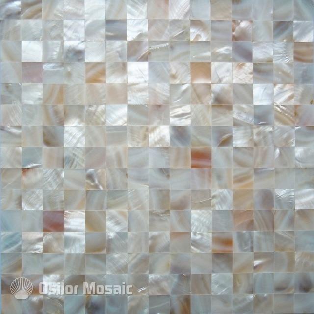 100% natural de agua dulce Shell Madre de la perla mosaico azulejos ...