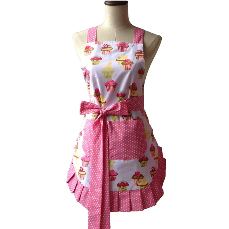 Retro Kitchen Apron Woman Flirty White Apron Frosted Cupcake Striped Polka Dot Ruffled S ...