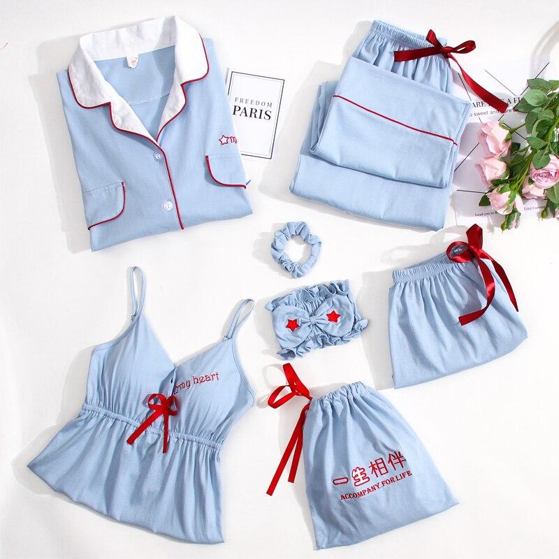 Women 7 Pieces Pajamas 100% Cotton Pyjama Set Sleep Clothes Sleepwear Suit for Lady 7 Pcs Negligee Nightwear 100% Cotton Pajamas