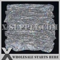 4mm Flexible Rhinestone Mesh Trim without Glue, Crystal Rhinestone in Silver Plated Alumminum Mesh