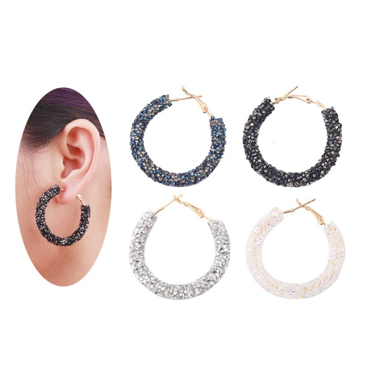 Fashion Jewelry Simple Personality Vintage Exaggerated Hiphop Crystals From Swarovskis Circles Handmade Beaded Crystal Earrings