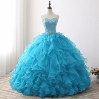 2019 Ball Gown Cheap Quinceanera Dresses Organza With Beads Sequined Sweet 16 Dress For 15 Years Debutante Gown blue
