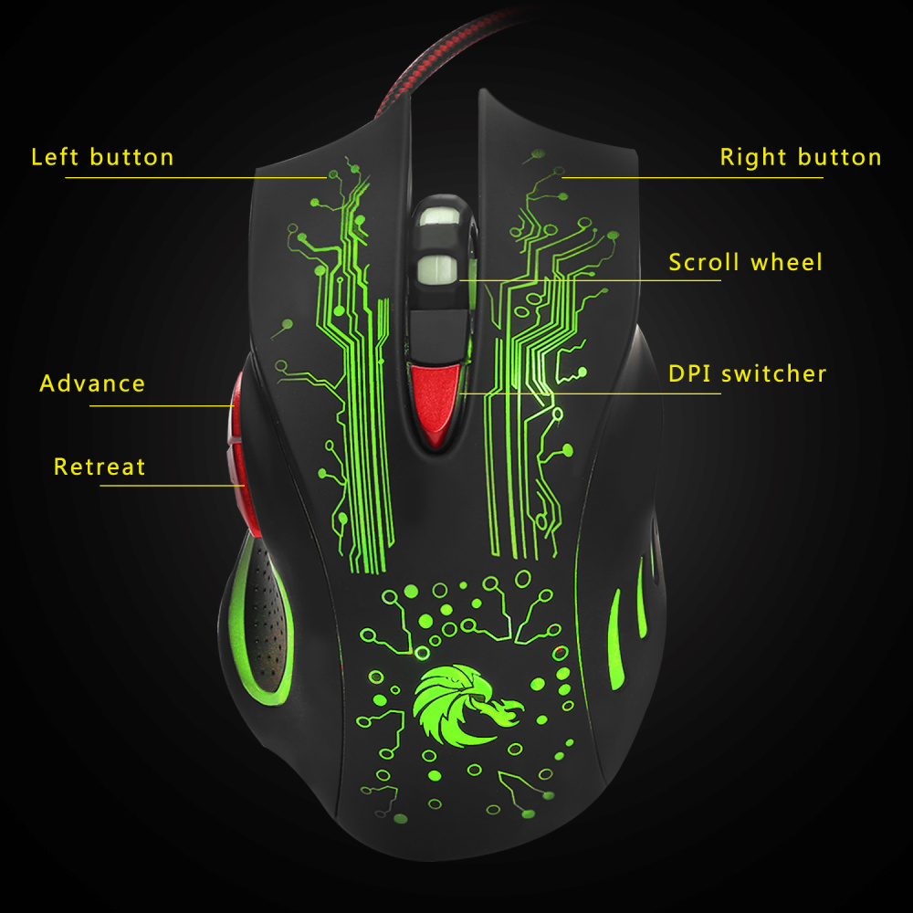 HXSJ H700 Adjustable 5500DPI Professional USB Wired Optical 6 Buttons Gaming Mouse with LED Backlight Ergonomical Design