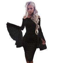 فستان أنيق طويل الأكمام المرقعة قبالة الكتف