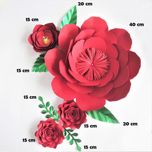 Handmade Xmas Red Rose DIY Paper Flowers Leaves Set For Christmas New Year Backdrops Decorations Nursery Video Tutorials