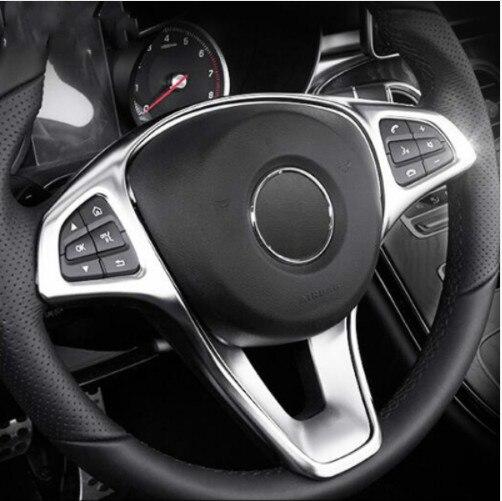 ABS Chrome Steering Wheel Button Frame Trim For Mercedes Benz C/E class W205 W213/GLC X253 Car Decor Strip Interior Accessories