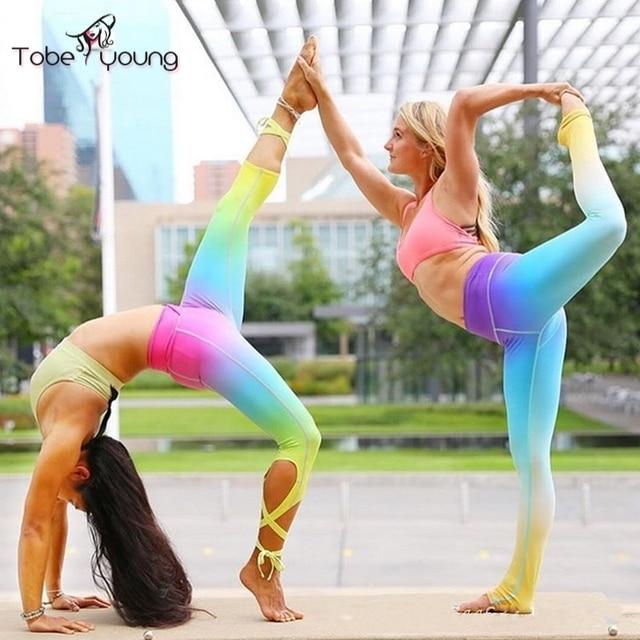 2017 New Womens Rainbow Bandage Cross Leggings Ballet Spirit Quick Dry Dance Fitness Workout Pants Jeggings Femininas Autumn