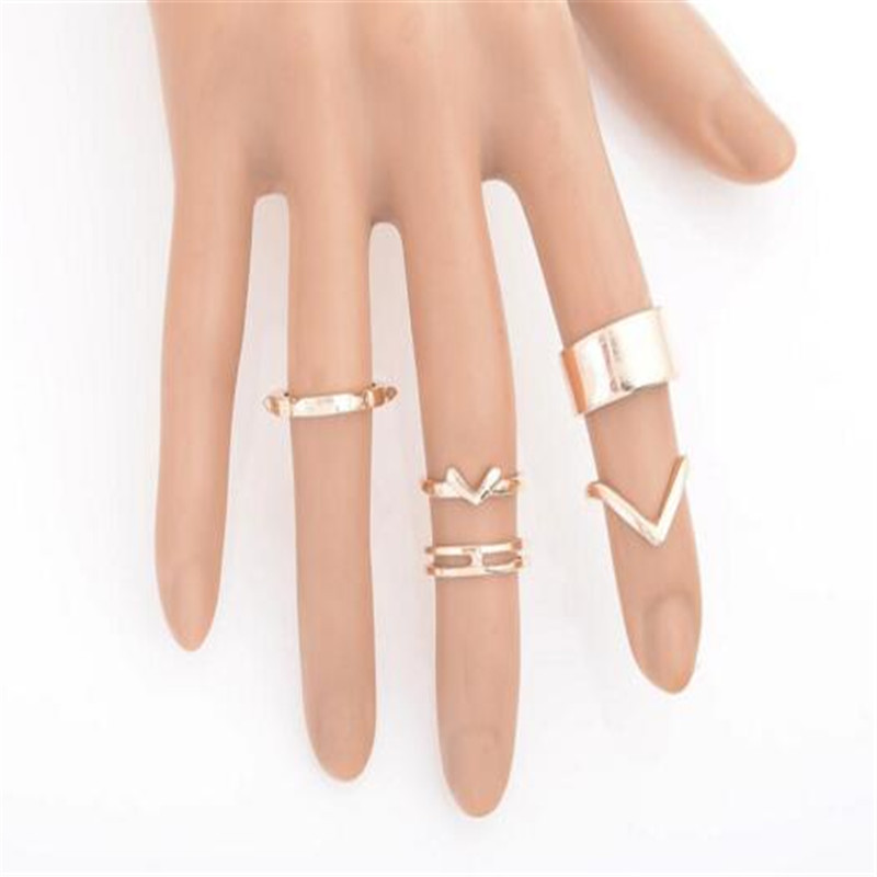 50 SetsTop Of Finger Over V Shape The Midi Tip Ring Set Punk Vintage Design Knuckle Rings For Women Party jewellery Gold Silver