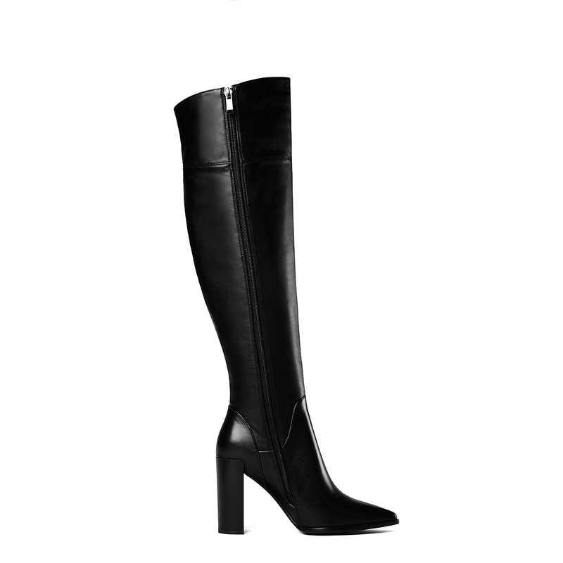 ยี่ห้อรองเท้าเซ็กซี่รองเท้าส้นสูงฤดูใบไม้ร่วงฤดูหนาวสูงรองเท้าผู้หญิง pointed Toe รันเวย์ WARM Snow BOOT หนังคาวบอยผู้หญิงรองเท้า