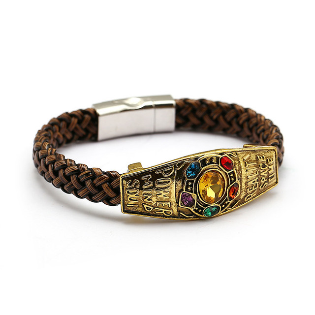 caf4acc726384 US $2.21 26% OFF|Marvel Avengers Thanos Bracelet Infinity War Infinite  Power Charm Bracelets For Men Women Souvenir Fashion Moive Jewelry-in Chain  & ...