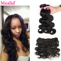 Mealid Brazilian Hair Weave Bundles Bodywave Bundles With Frontal Natural 1B Nonremy Human Hair 3 Bundels With Closure Free Part