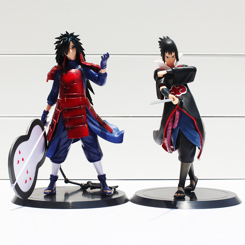 2pcs/set 17cm Anime Naruto Uchiha Madara Uchiha Sasuke PVC Action Figures Model Toys Free Shipping