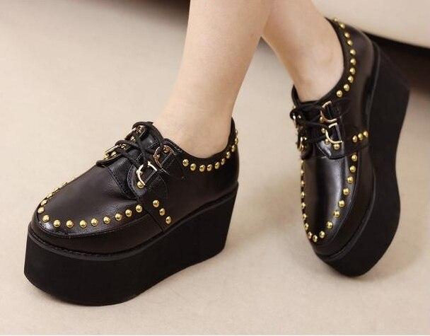 Online Shop Tianyi shoes fashion round toe rivet platform shoes ...
