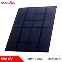 ELEGEEK 10pcs 5W 6V Polycrystalline Silicon Solar Cell Module Mini DIY Solar Panel 6V PET DIY Solar Panel for Test 165*210mm