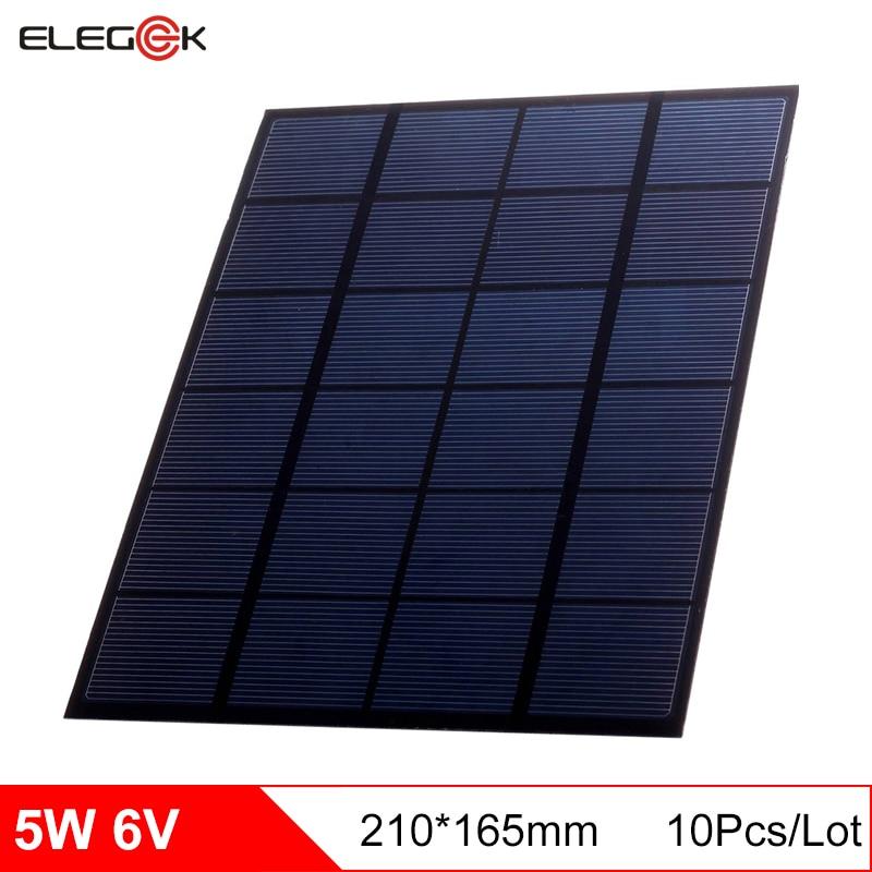 ELEGEEK 10pcs 5W 6V Polycrystalline Silicon Solar Cell Module Mini DIY Solar Panel 6V PET DIY Solar Panel for Test 165*210mm