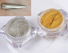 Mirror Powder Holographic 1g 2 Box Gold+Silver Nail Glitter Pigment Art Chrome