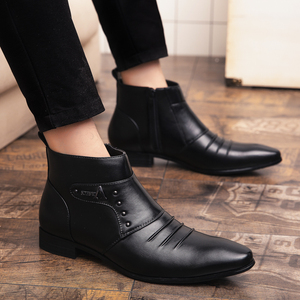 Image 5 - Misalwa Ankle Pointed Top Zip Men Chelsea Boots Spring Autumn Solid Vintage Leather Chaussure Homme Male 2019 Dress Boots