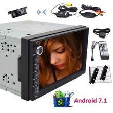 Android 7.1 Car Stereo 2Din Bluetooth Radio Support GPS Navigation, USB/SD, 3G WIFI, Backup Camera, OBD2, Subwoofer+Wireless Cam