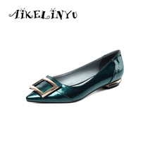 AIKELINYU Arrive Patent Genuine Leather Pointed Toe Metal Decoration Office Shoes Girls Flat Heel Fashion Flat Shoes Women Flat стоимость