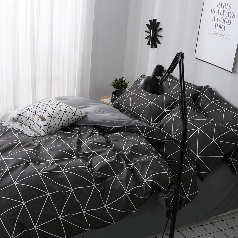 Image 3 - ParkShin 2019 New AB Side Bedding Set Duvet Cover Set King Queen Full Twin Bed Linen Brief Bed Flat Sheet Pillowcases Mans Cover-in Bedding Sets from Home & Garden