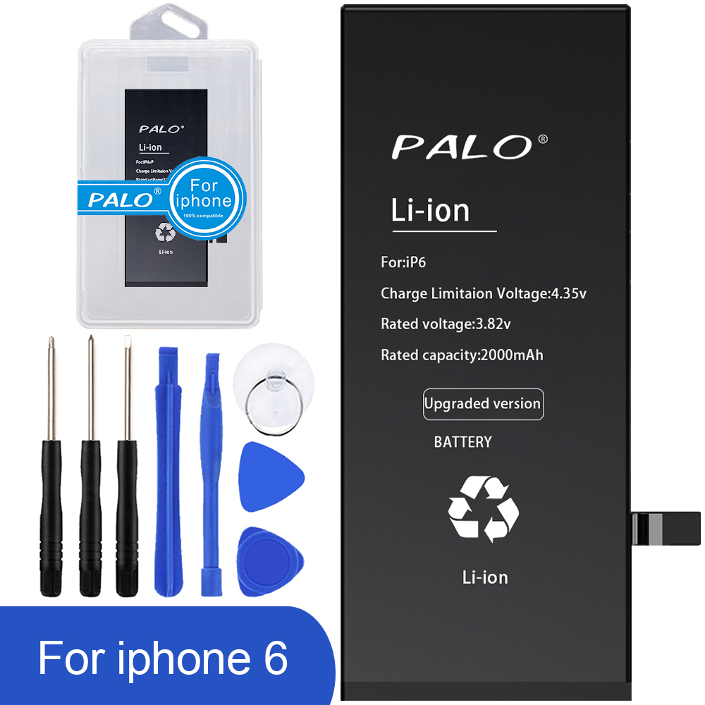 100% PALO Original Mobile Phone Battery For IPhone 6 Real Capacity 2000mAh With Repair Tools Kit And Data Line