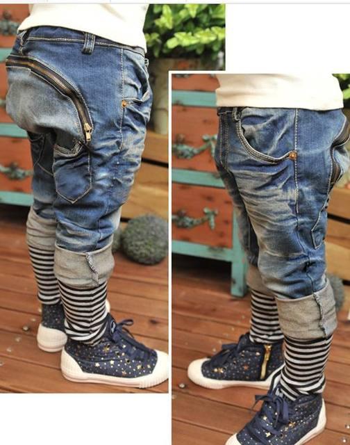 Primavera Retail Otoño Boy Jeans Zipper Haren pantalones Sueltos Largos Pantalones Vaqueros Niños Ropa K0122
