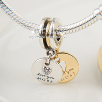 2018 Mother's Day Fashion Jewelry Shine More & Most Love Golden Overlay Sterling Silver beads Charms Fit DIY Bracelets Necklace