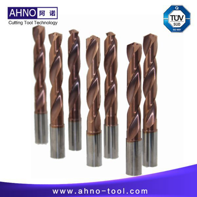 AHNO High Quality Tungsten Solide Carbide Drill Bit 5xD with 2 Internal Coolants holes , AlCr-based copper Balzers Coating double helix internal cooling holes 3 l d 17mm u drill ud30 sp06 170 w25 ztd03 with inserts zcc spgt06 or taegutec spmg06