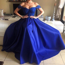 Royal Blue Long A Line Lace Prom Dresses 2019 robe de soiree abiye sweetheart Off the Shoulder Plus Size Formal evening dress