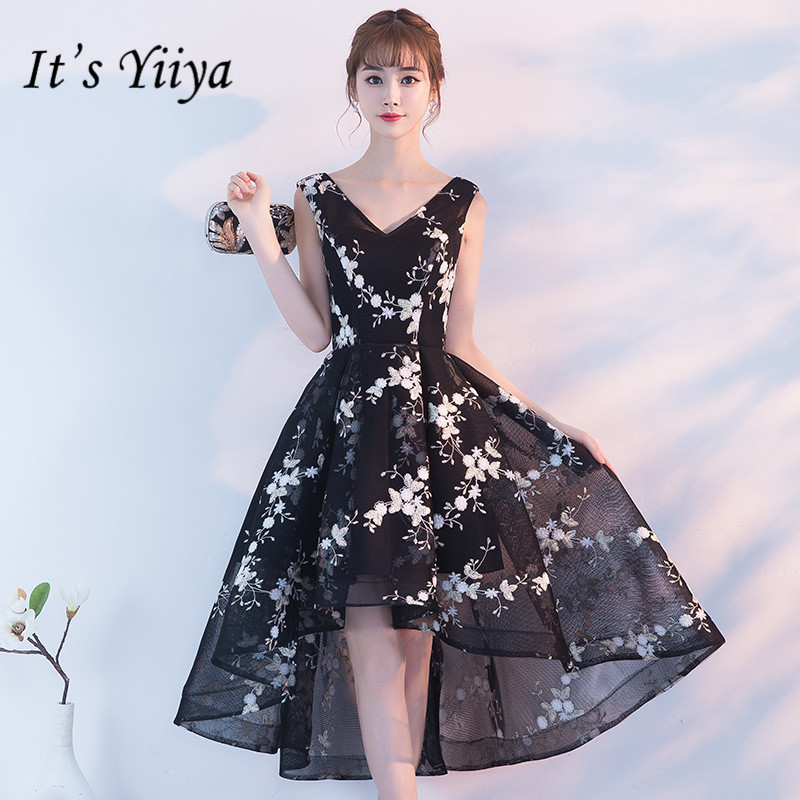 It's YiiYa New V-neck Sleeveless Black   Cocktail     Dress   Elegant Embroider Back Lace Up Formal   Dress   Party Gown H240
