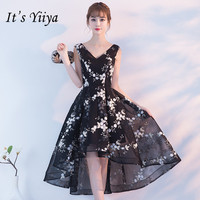 It's YiiYa New V neck Sleeveless Black Cocktail Dress Elegant Embroider Back Lace Up Formal Dress Party Gown H240