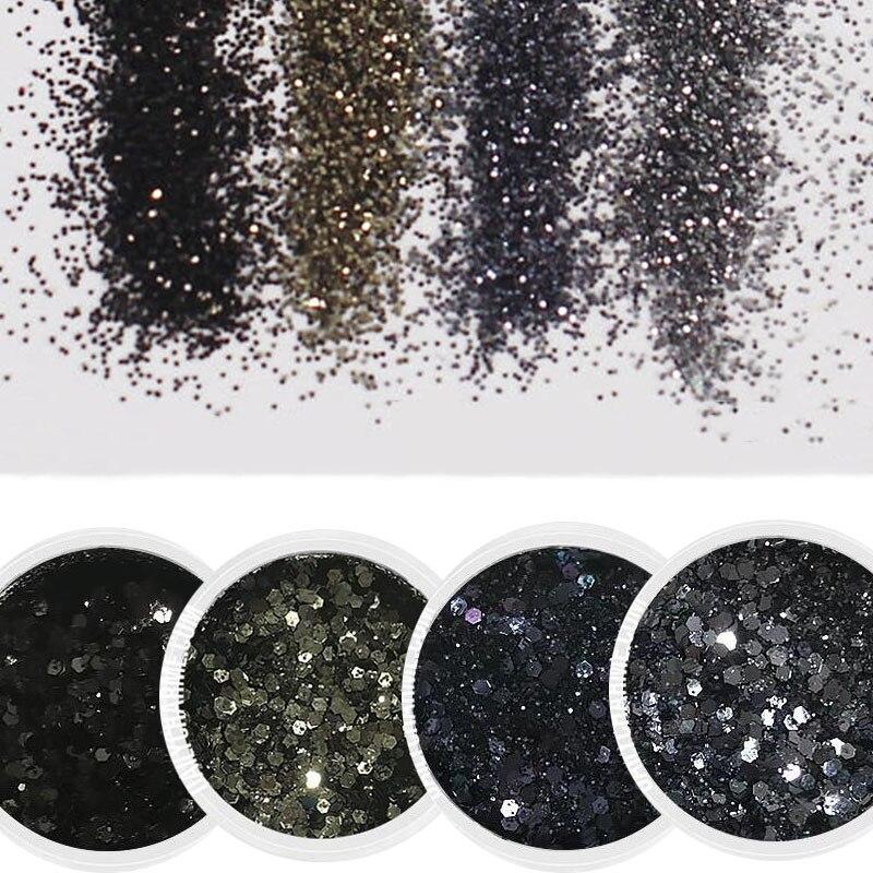 4boxes/Set Black Series Nail Art Glitter  (10ml/Box) 3D MIX Powder Sequins For DIY