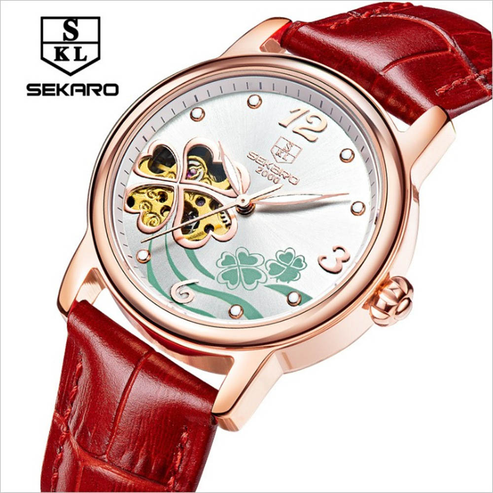 SEKARO Brand Women Watches Skeleton Mechanical Watch White Leather Band Ladies Simple Fashion Casual Clock Relogio femininos sollen clock women skeleton automatic mechanical watch new arrival design women fashion casual leather watches relogio femininos