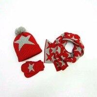 Baby Girls Winter Warm Hats Scarf Gloves Set Kids Crochet Knited Full Cotton Christmas Star Pattern