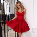 Sexy Mini Red Cocktail Dresses Charming U Neck Backless Satin Woman Short Party Dress with Side Pocket Bow