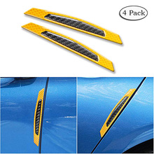 цена на 4 Pack Universal 3D Car Side Door Edge Bumper Anti-Scratch Protection Guards Carbon Fiber Trim Reflective Stickers Strips CB011